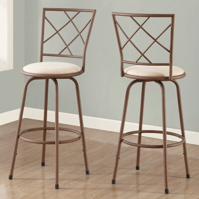 28 Bar Stool (Set of 2) Finish: Brown / Beige