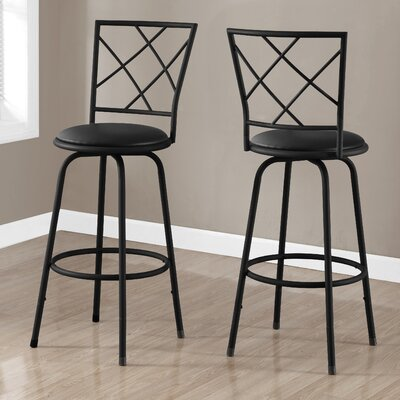 28 Bar Stool (Set of 2) Finish: Black / Black