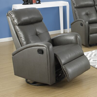 Manual Swivel Recliner Upholstery Color: Charcoal Grey