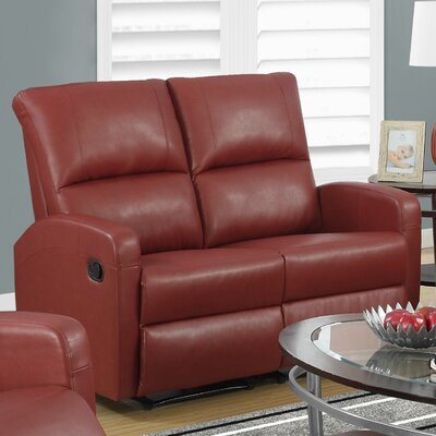 Reclining Loveseat Upholstery Color: Red