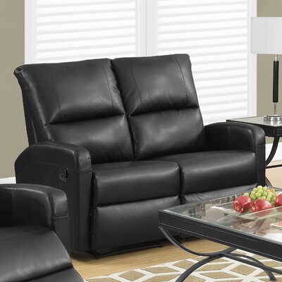 Reclining Loveseat Upholstery Color: Black