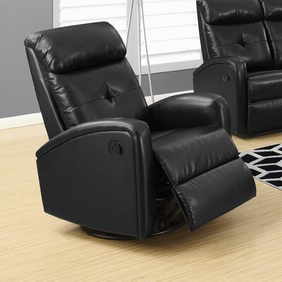 Manual Swivel Recliner Upholstery Color: Black