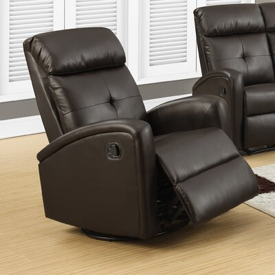 Manual Swivel Recliner Upholstery Color: Dark Brown