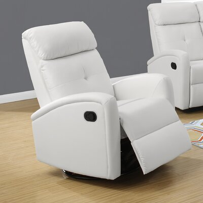 Manual Swivel Recliner Upholstery Color: White