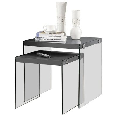 2 Piece Nesting Tables Finish: Grey