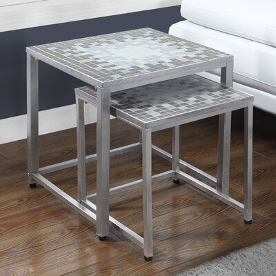 2 Piece Nesting Tables Color: Grey / Silver