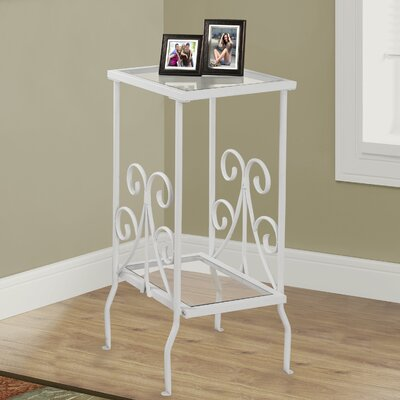 White Metal End Table