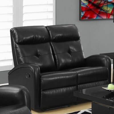 Reclining Loveseat Upholstery: Black