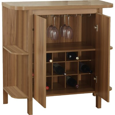 Keshia Guffey Bar with Wine Storage Finish: Walnut