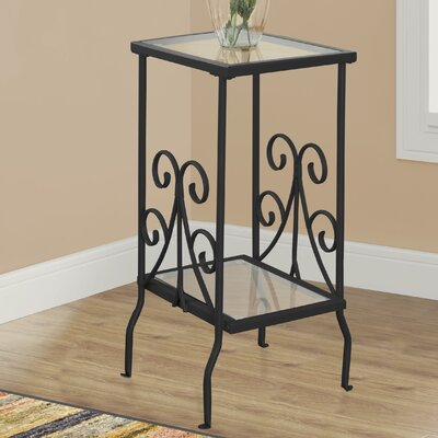 Tempered Glass End Table Finish: Black