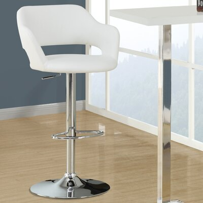 Adjustable 25 inch Swivel Bar Stool Upholstery: White