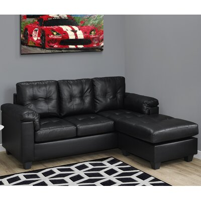 3 Seater Lounger Sofa Upholstery: Black