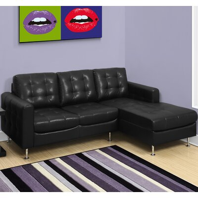 3 Seater Lounger Sofa Upholstery Color: Black