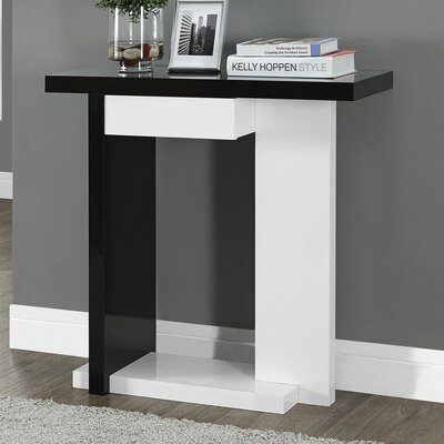Console Table Finish: Glossy White/Black