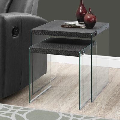 2 Piece Nesting Tables Set Color: Gray Wood