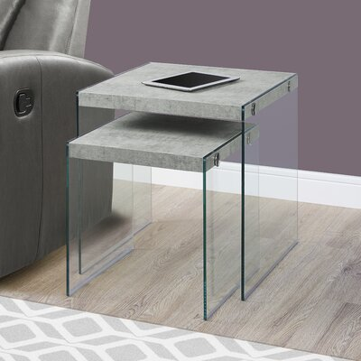 2 Piece Nesting Tables Set Color: Gray Cement