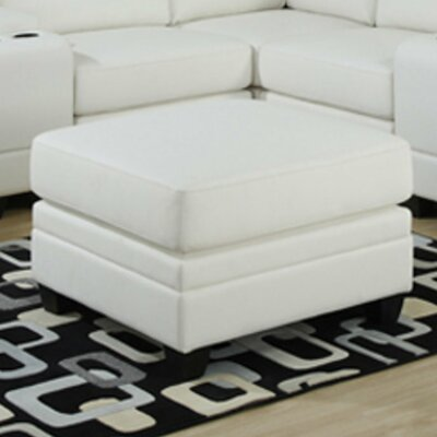 Corner Unit Leather Ottoman Upholstery: White