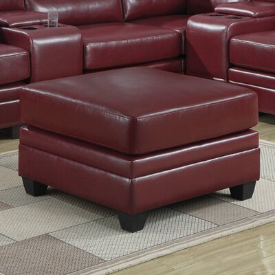 Corner Unit Leather Ottoman Upholstery: Red