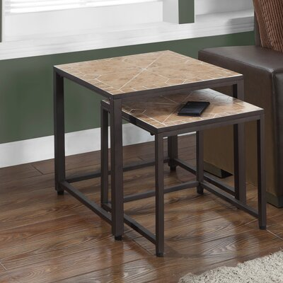 2 Piece Nesting Tables Color: Terracotta / Brown