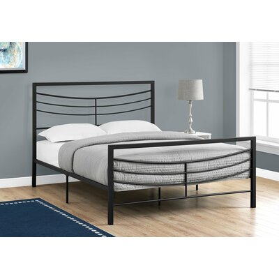 Haney Slat Bed Size: Queen, Color: Black