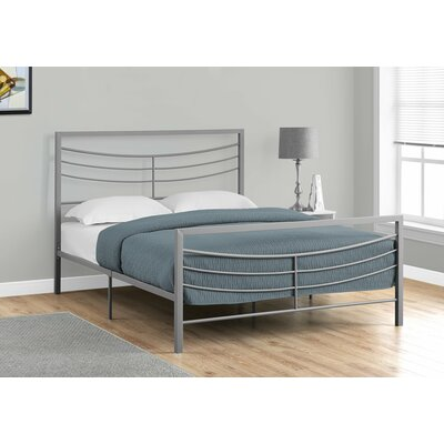 Haney Slat Bed Size: Queen, Color: Silver