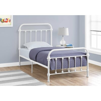 Lofton Twin Slat Bed Bed Frame Color: White