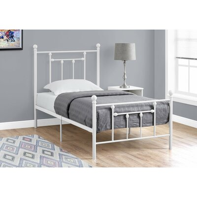 Lannon Twin Slat Bed Bed Frame Color: White