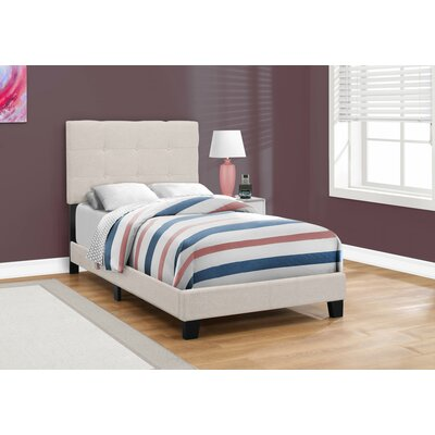 Rollins Upholstered Panel Bed Size: Twin, Color: Beige