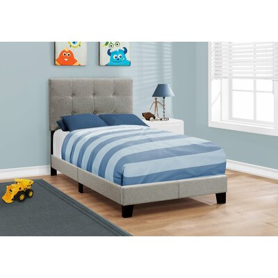 Rollins Upholstered Panel Bed Size: Twin, Color: Gray