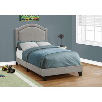 Towcester Panel Bed Upholstery: Gray, Size: Twin