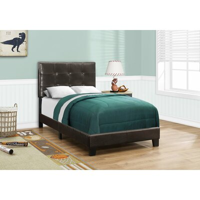 Larocca Upholstered Panel Bed Size: Twin, Color: Dark Brown