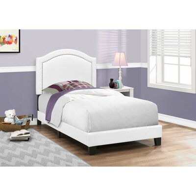 Larose Upholstered Panel Bed Size: Twin, Color: White
