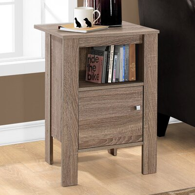 Alexandra Nightstand with Storage Finish: Dark Taupe