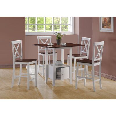 Image of Monarch Specialties Inc. 5 Piece Counter Height Dining Set in White and Walnut (MNQ1215)