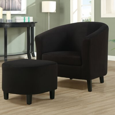 Micro Fibre Accent Chair and Ottoman in Black