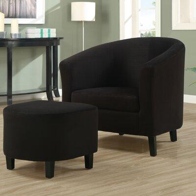 Micro Fibre Accent Chair and Ottoman in Black