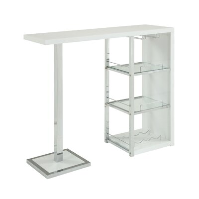Lease to own Bar Table Finish: Glossy White...
