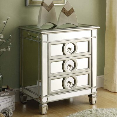 Rhiannon Mirrored 3 Drawer Accent Chest