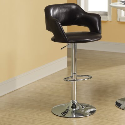 Adjustable Height Swivel Bar Stool Upholstery: Dark Brown