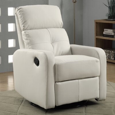 Manual Swivel Glider Recliner Upholstery: Off White