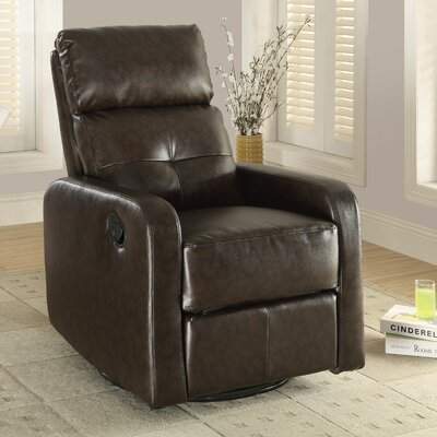 Manual Swivel Glider Recliner Upholstery: Dark Brown