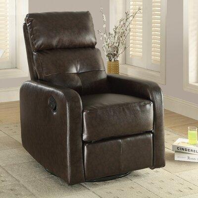 Swivel Glider Recliner Upholstery: Dark Brown