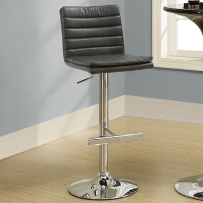 Adjustable Height Swivel Bar Stool Upholstery: Charcoal Grey