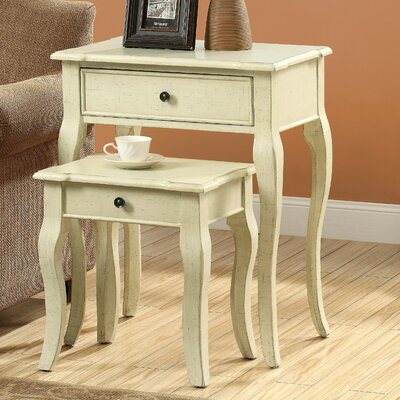 2 Piece Nesting Table Set II Color: Antique White