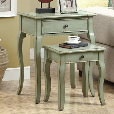 2 Piece Nesting Table Set II Color: Antique Green