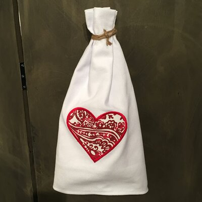 Egyptian Quality Cotton Huck Holiday Applique Valentine Heart Hand Towel