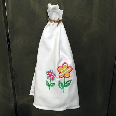 Egyptian Quality Cotton Huck Towel with Spring Flowers Applique Hand Towel