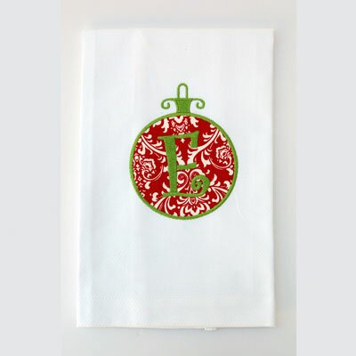 Egyptian Quality Cotton Huck Holiday Applique Ornament Hand Towel Letter: V