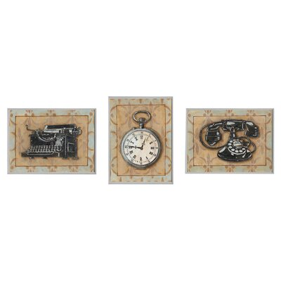 Stopwatch, Typewriter, and Rotary Phone Retro Home Office 3 Piece Graphic Art Wall Plaque Set wrp-829