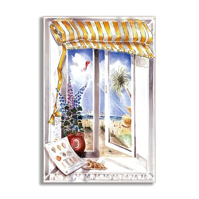 Shells and Kite Faux Window Scene Wall Plaque